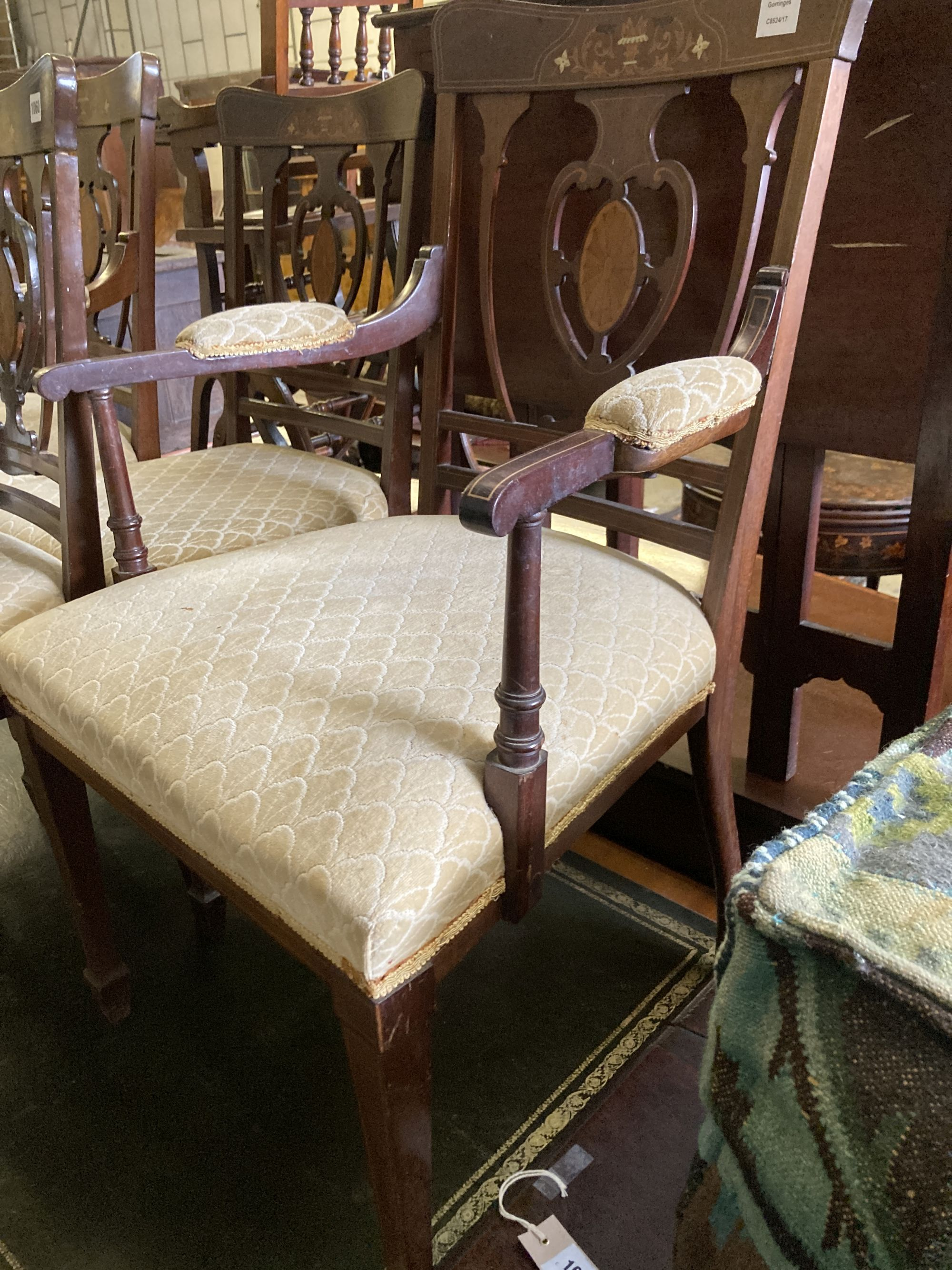 A pair of Edwardian inlaid mahogany elbow chairs and a matching single chair (3) - Image 3 of 5