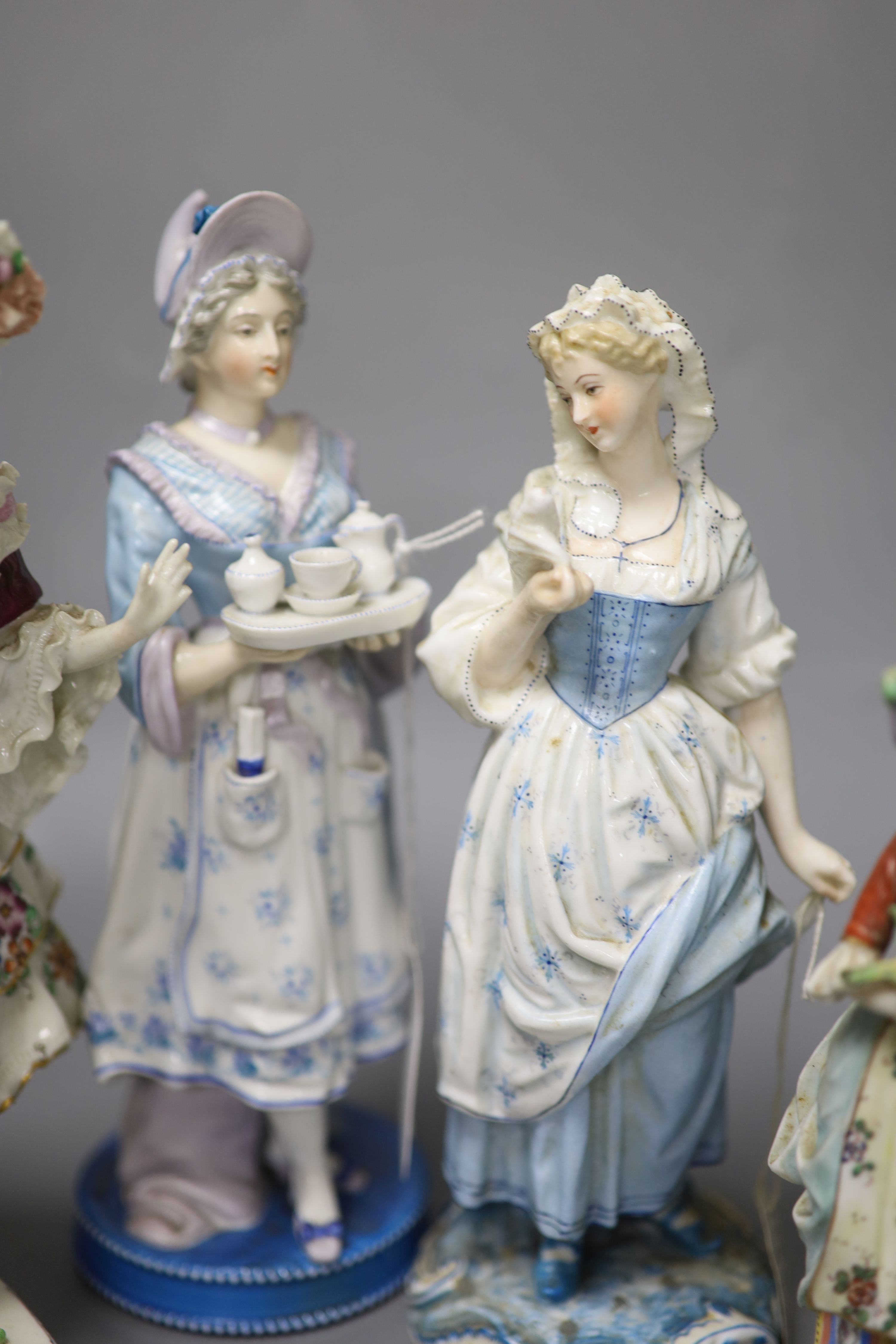 Six Continental porcelain figures, tallest 23cmCONDITION: Tall enamelled female - three of her - Image 5 of 6