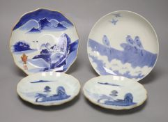 Four Japanese blue and white dishes, including a pair late Edo, largest diameter 21cmCONDITION: