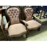 A Victorian spoonback armchair and one other chair, larger 70cm, depth 74cm, height 94cm