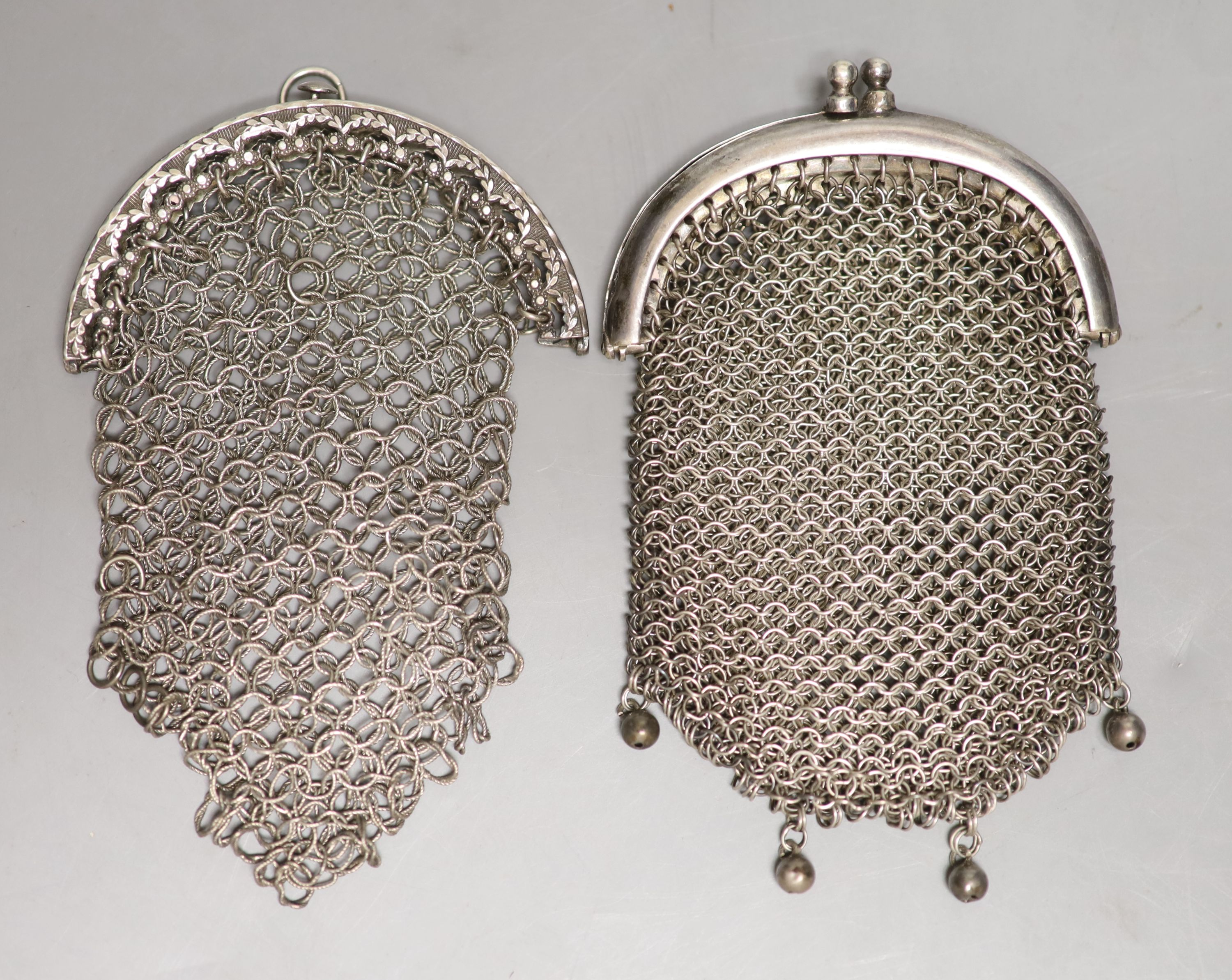 A George III silver chain link purse, John Shaw, Birmingham, 1810, 10cm and one other white metal