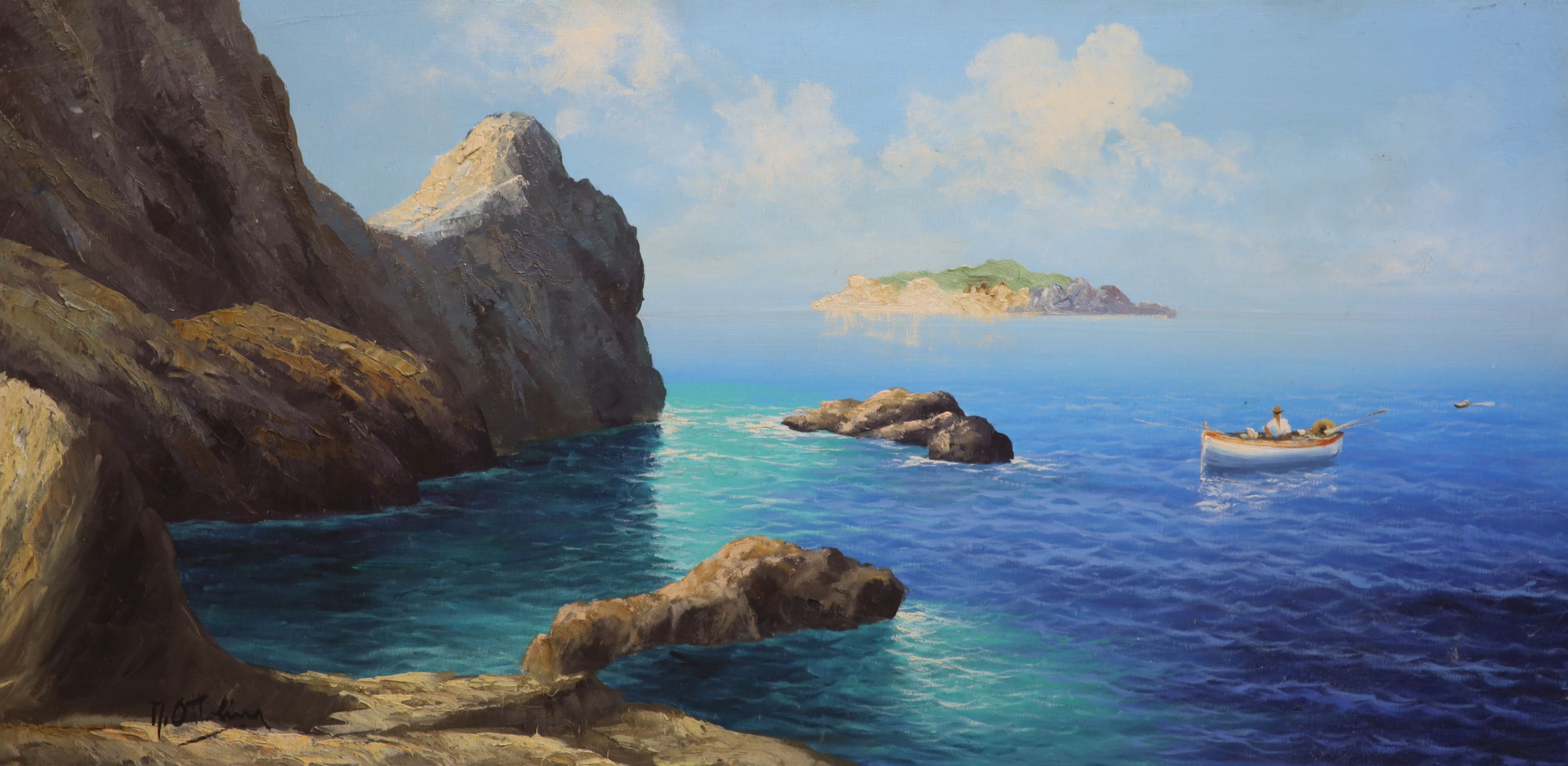 M. Ottolinaoil on canvasNeapolitan coastal scenesigned49 x 98cm - Image 3 of 4