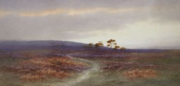 Charles Edward Brittan (1870-1949), watercolour, Moorland scene, 20 x 40cm signed, 7.75 x 15.75in.