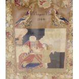 A Margaret Emily Verdin petit point sampler, dated 1844, width 36cm, 42cm high