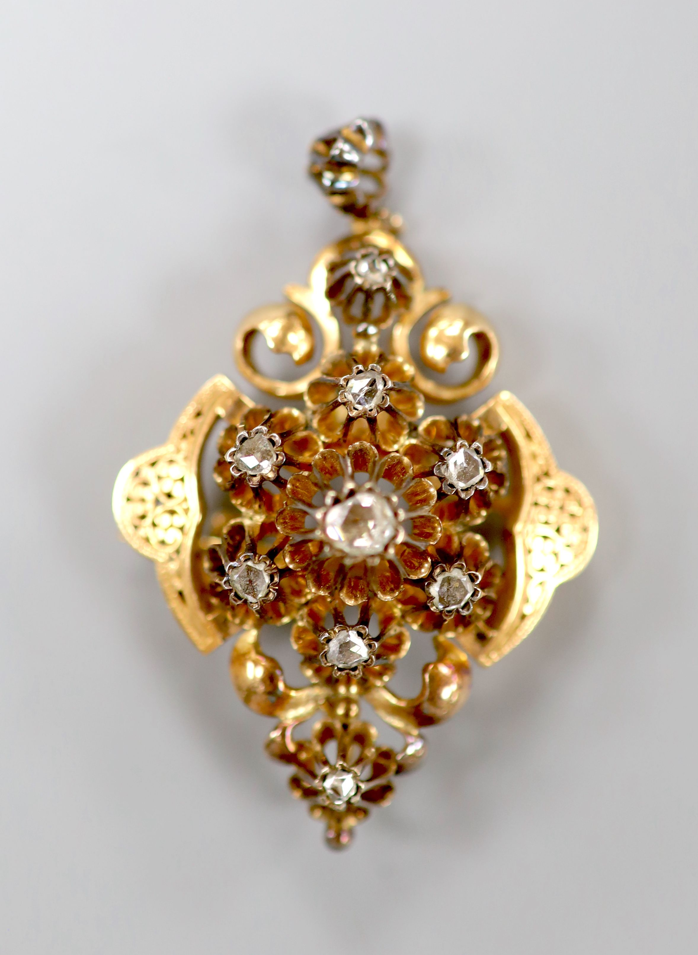 A late 19th/early 20th century Austro-Hungarian yellow metal and rose cut diamond set drop pendant