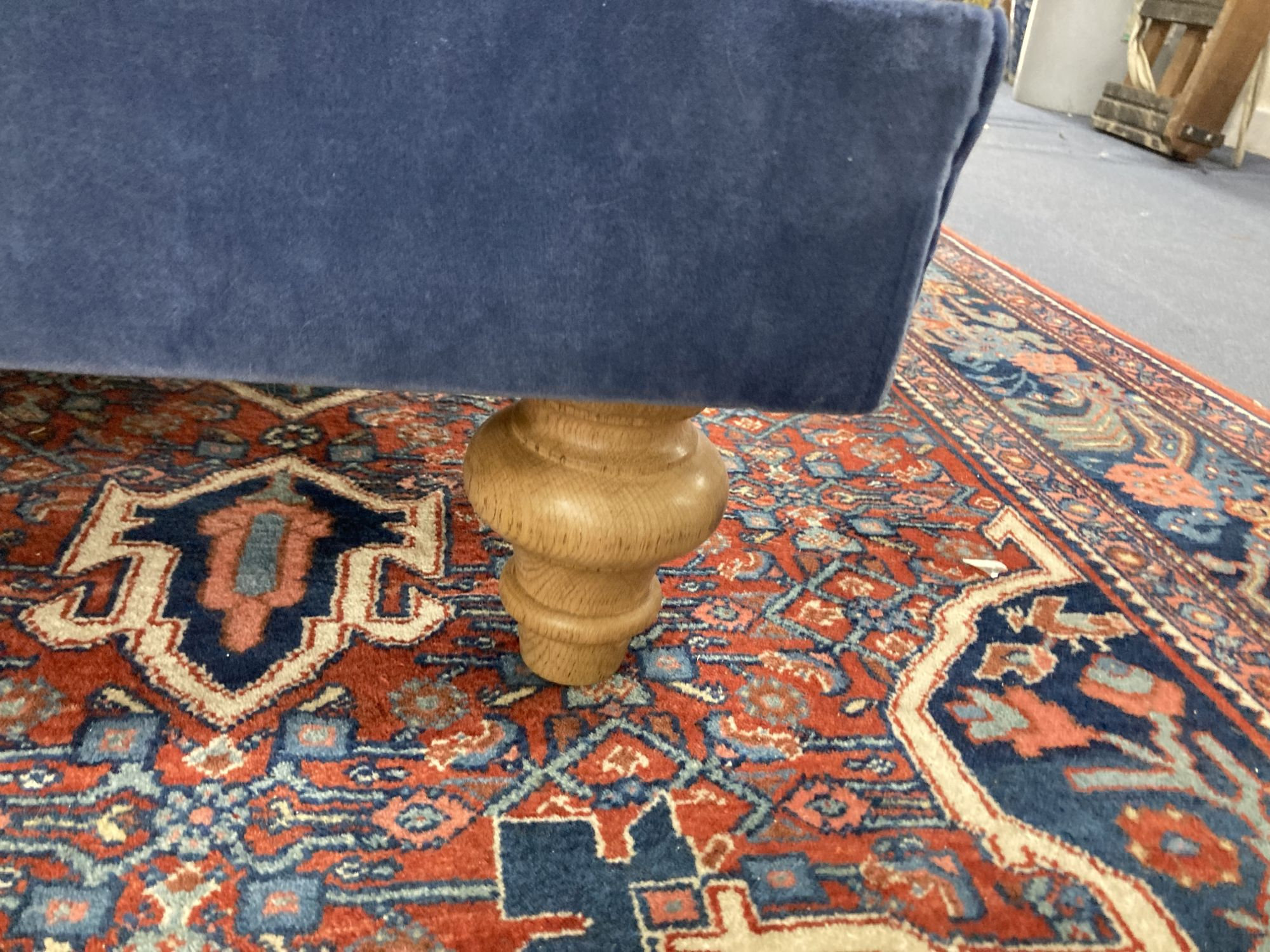 A rectangular Victorian style woven topped foot stool, length 106cm, depth 94cm, height 32cm - Image 3 of 3