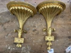A pair of George III style giltwood wall brackets, height 40cm