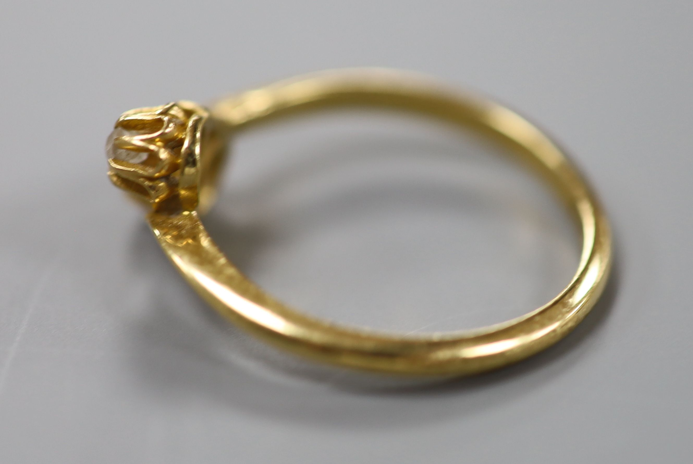 A George V 18ct gold and two stone diamond set crossover ring, size O/P, gross 2.7 grams. - Image 2 of 3