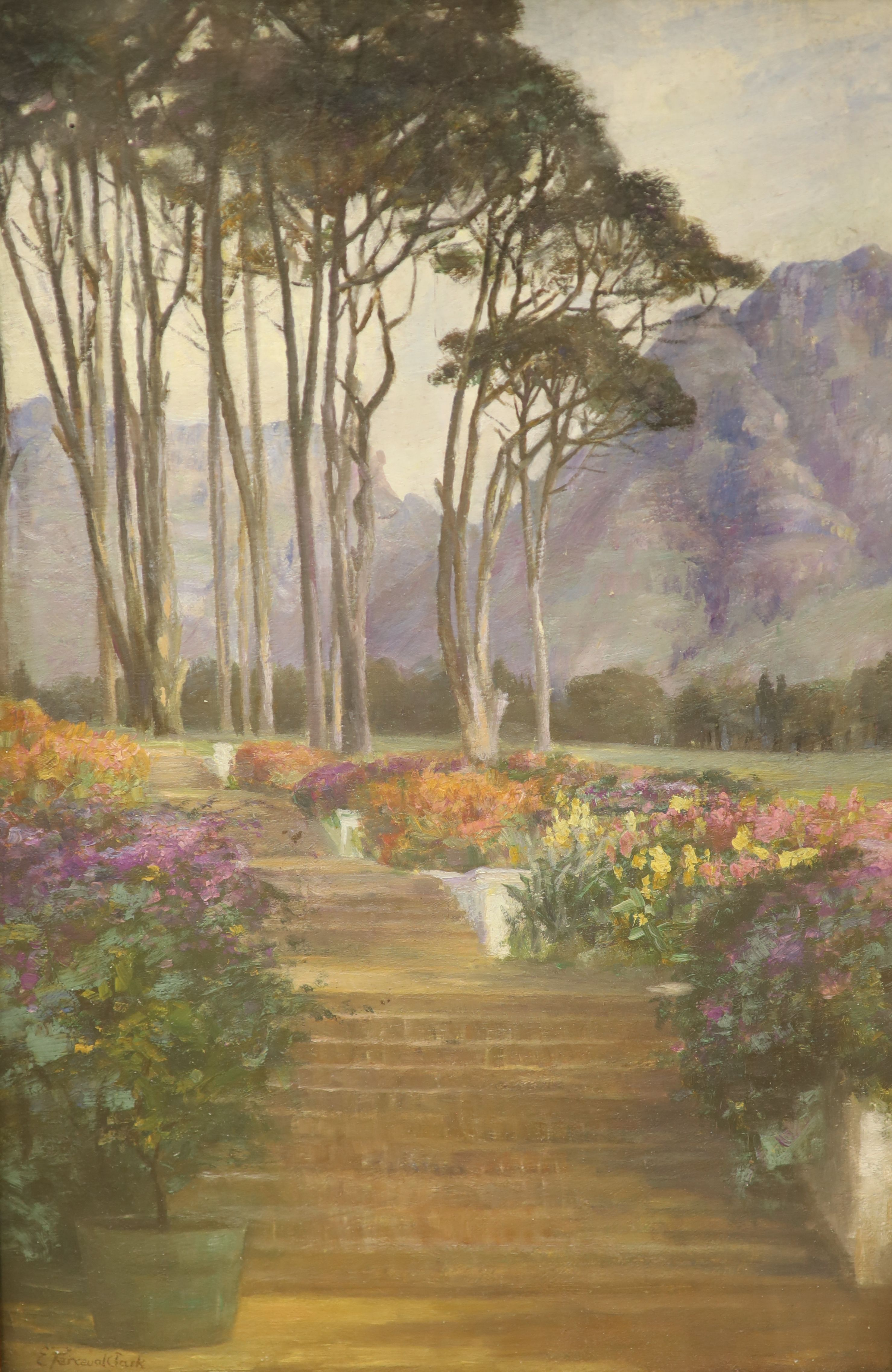 Evelyn Perceval-Clark, oil on board, The Terrace Garden, Groot, signed, 45 x 30cm