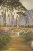 Evelyn Perceval-Clark, oil on board, The Terrace Garden, Groot, signed, 45 x 30cm