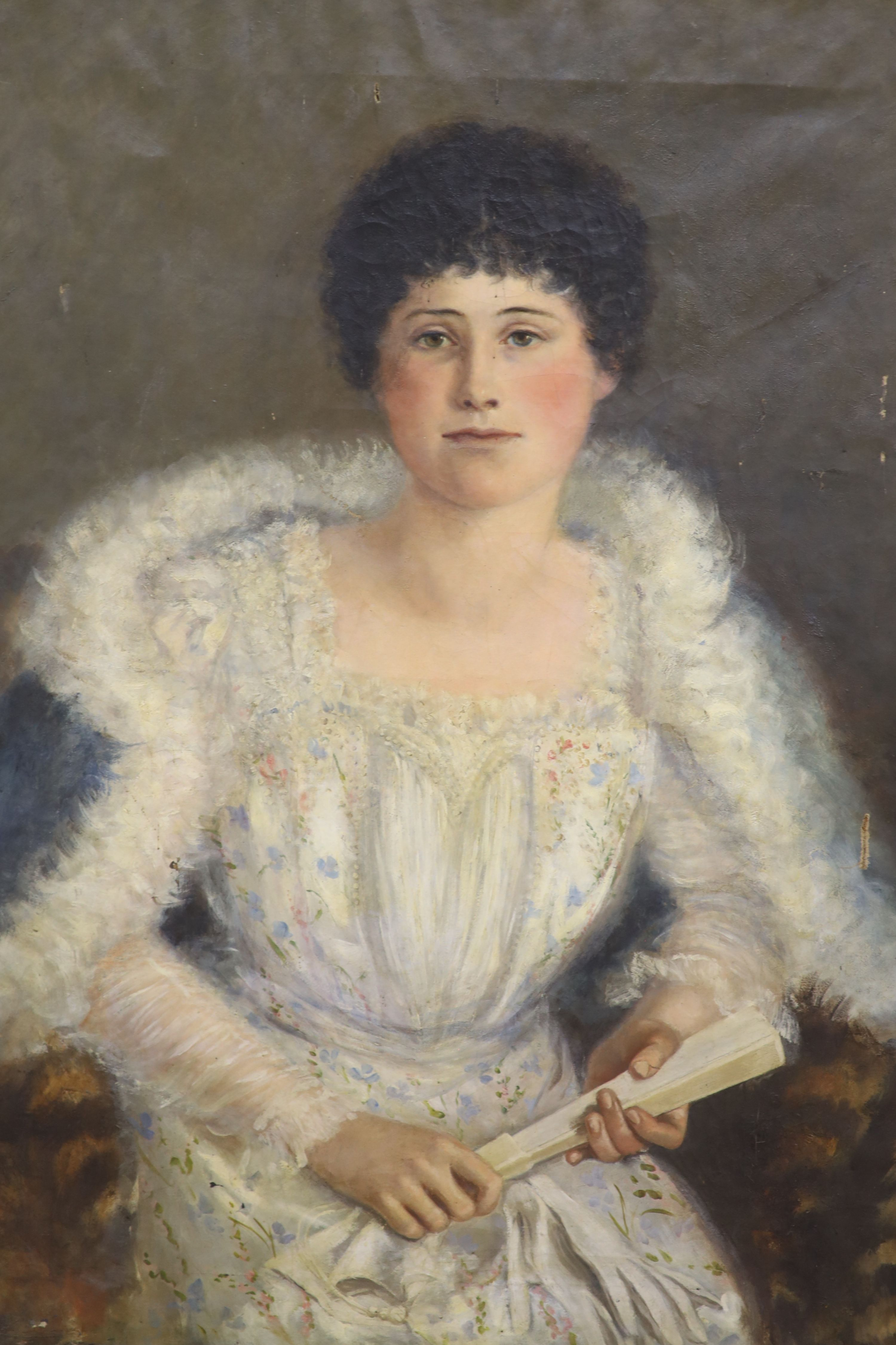 Circle of William Oliver (1823-1901), oil on canvas, Portrait of Rosalie Dennis, inscribed verso and