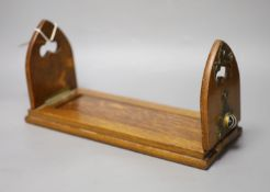 A Victorian oak and agate bookslide Betjemanns patentCONDITION: Good condition; brass mounts
