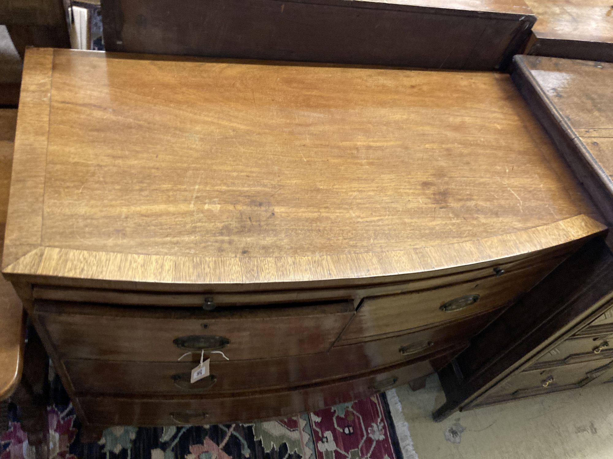 A Regency mahogany bowfront chest, fitted brushing slide, width 96cm, depth 49cm, height 86cm - Image 2 of 4
