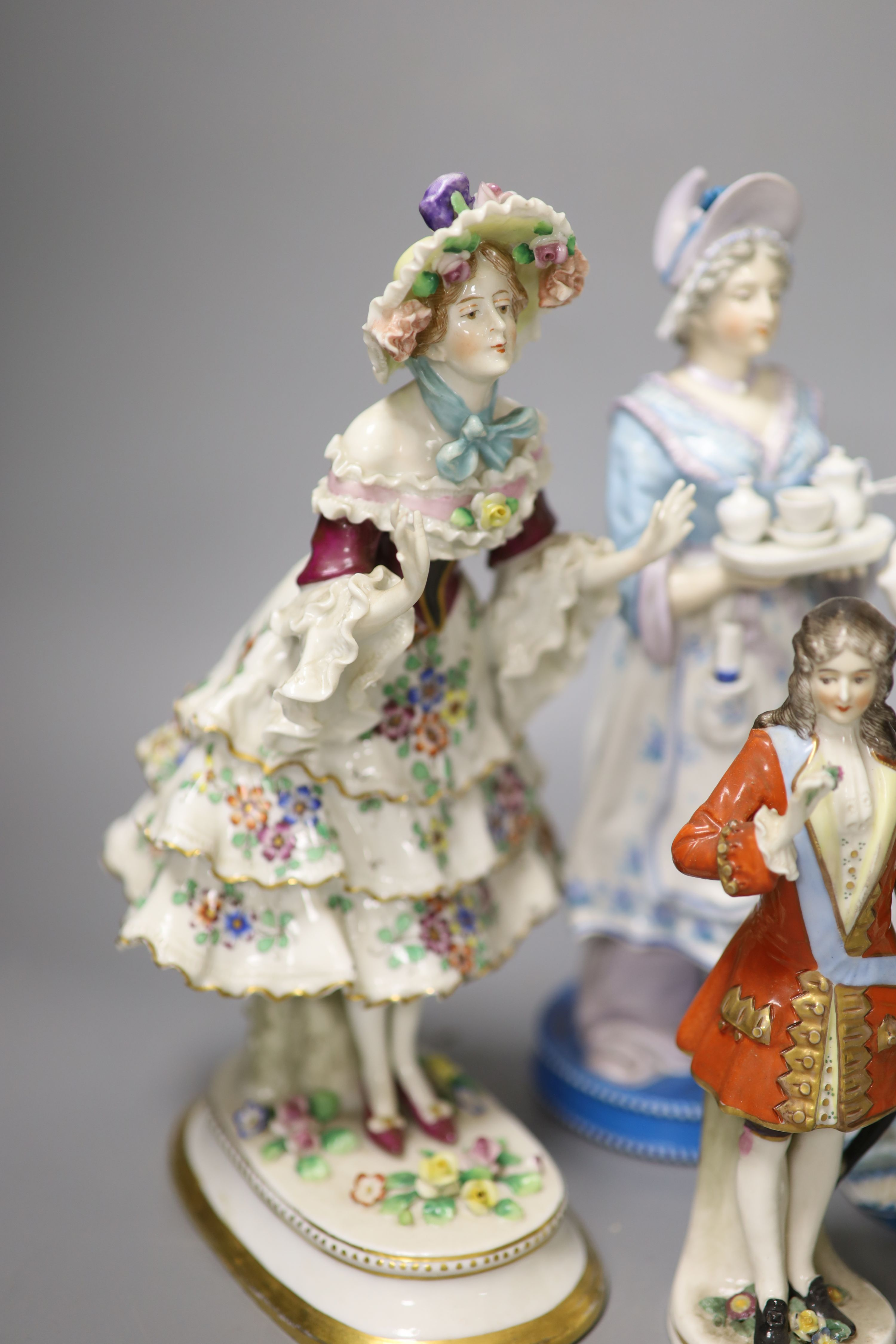 Six Continental porcelain figures, tallest 23cmCONDITION: Tall enamelled female - three of her - Image 2 of 6
