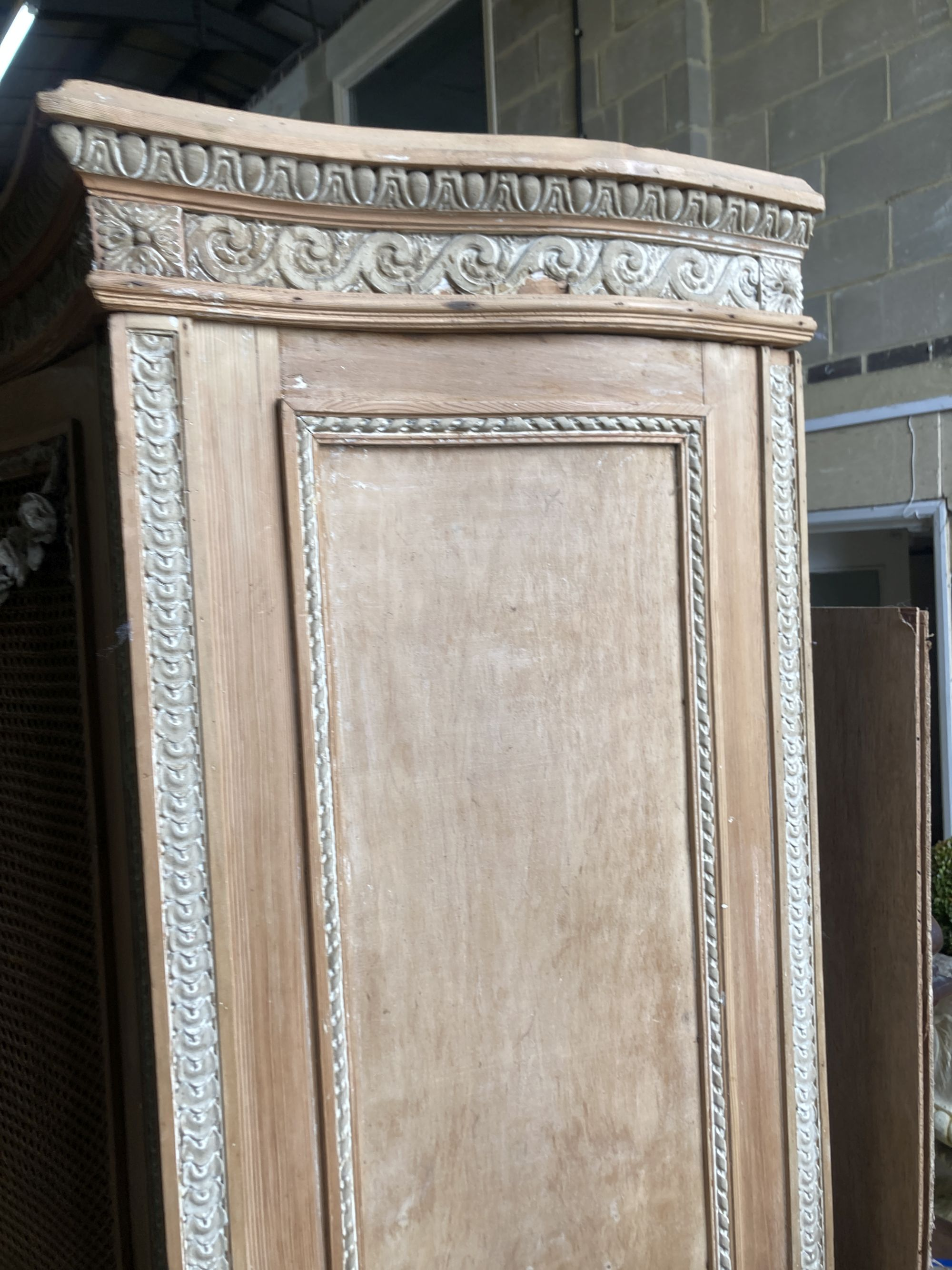 A French serpentine front caned pine armoire, width 154cm depth 60cm height 216cm - Image 2 of 4