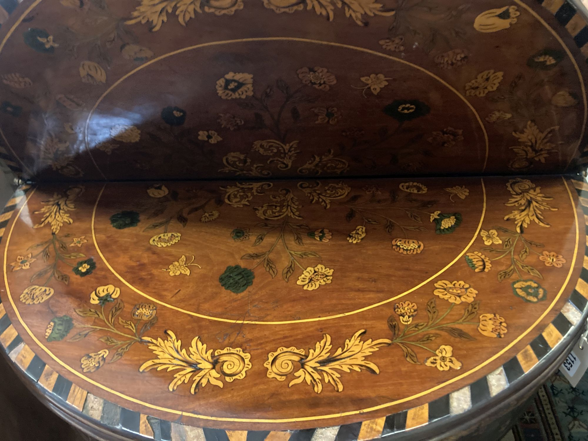 A near pair of 18th century Dutch floral marquetry walnut triple folding tea and card tables, larger - Image 5 of 7