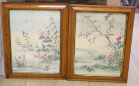 A pair of Chinese maple framed watercolours on silk, 30 x 40cm
