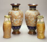 A pair of Royal Doulton Art Nouveau ovoid tubelined vases, impressed number 8079, monogram 'WB'