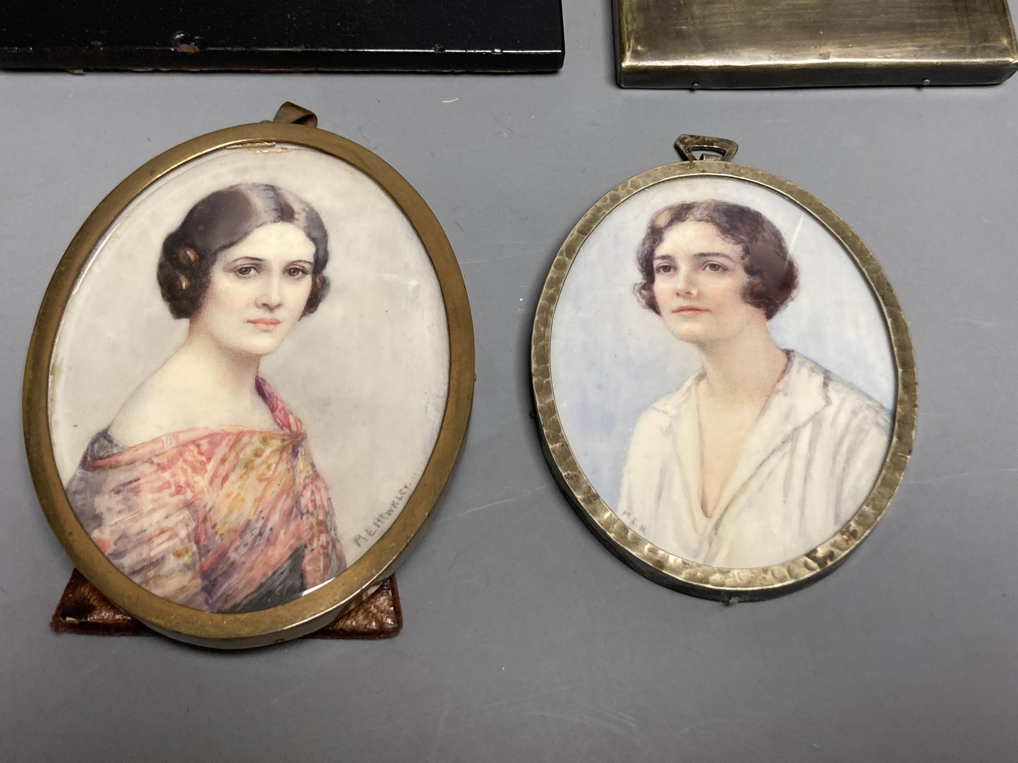 Marion Edith Hewkley (aka Sutherland Gill,19th/20th century), five miniature portraits, circa - Image 2 of 5