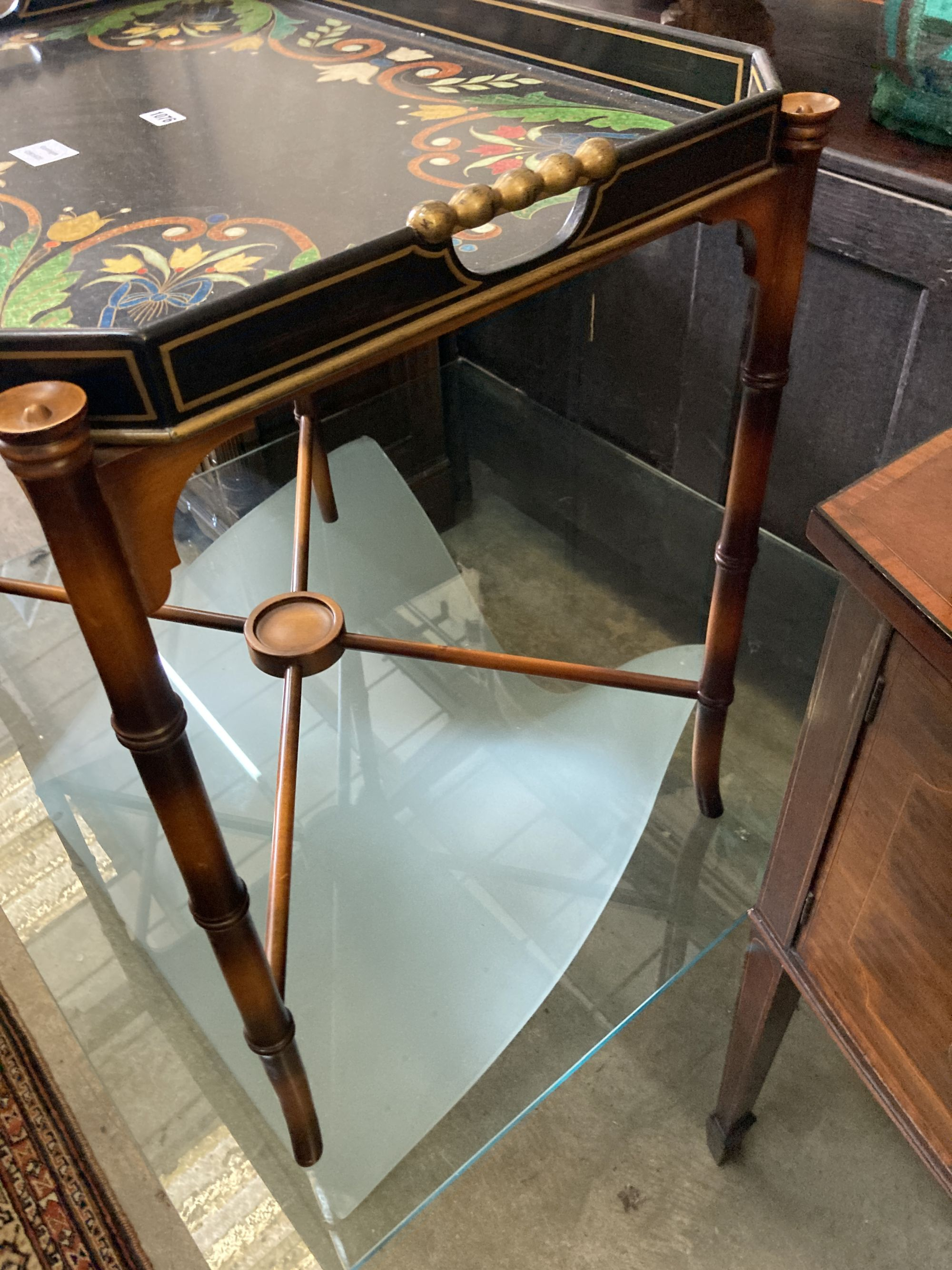 A Julian Chichester painted tray top occasional table, width 74cm, depth 54cm, height 74cm - Image 3 of 4
