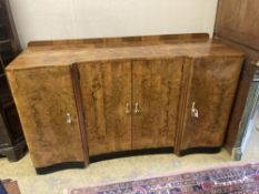 An Art Deco figured walnut sideboard, width 168cm depth 58cm height 98cm