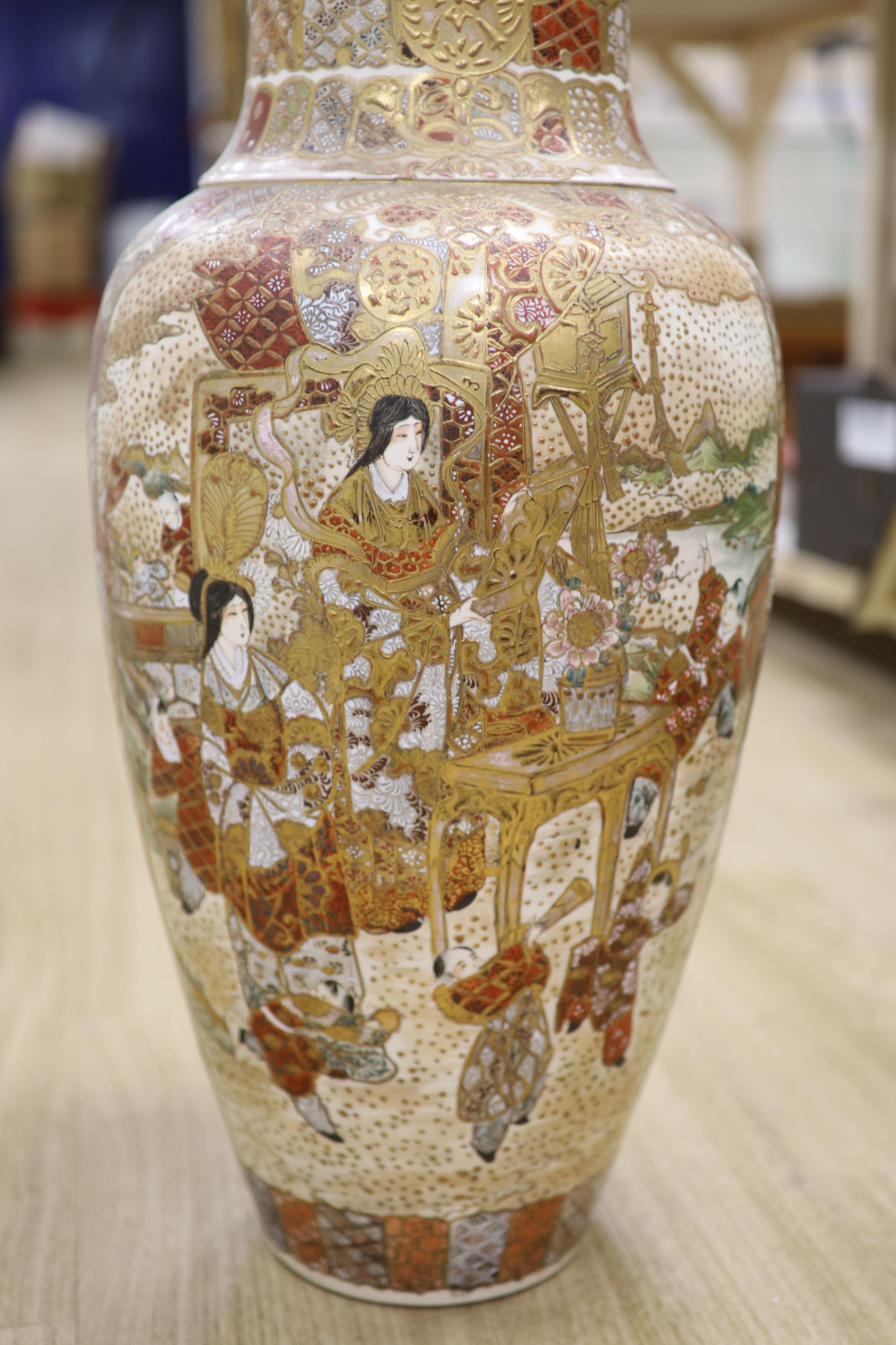 A large Satsuma pottery vase, height 63cm - Image 2 of 8