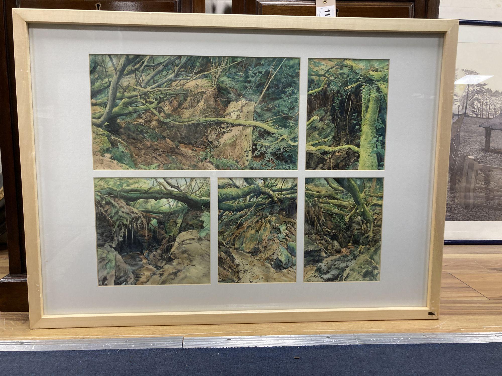 John Wiltshire (1969-), watercolour, 5 studies of the Tank Bridge, Bankside Gallery label verso, - Image 2 of 3
