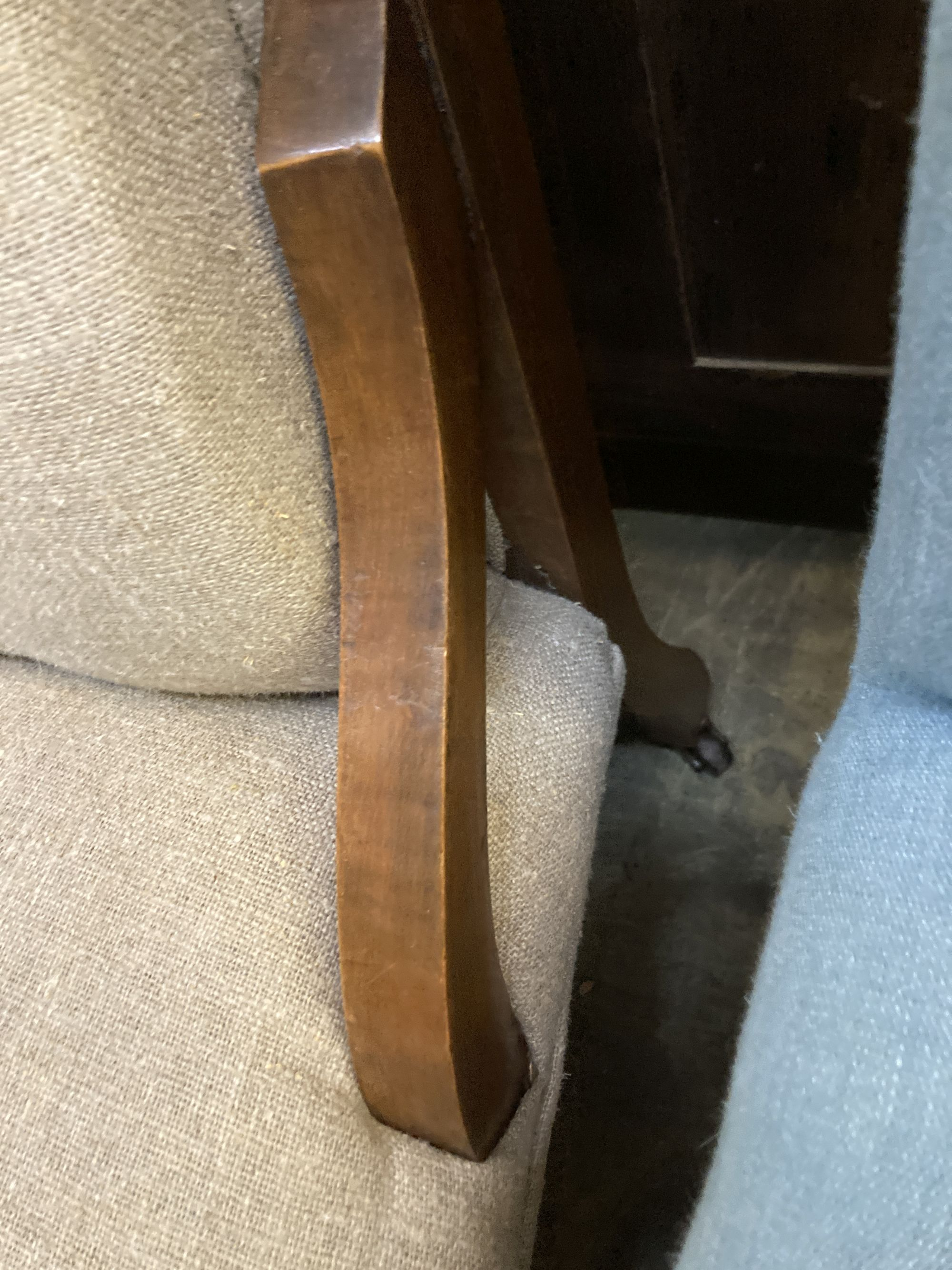 A late Victorian Art Nouveau salon chair, upholstered in buttoned natural fabric, width 60cm, - Image 3 of 4