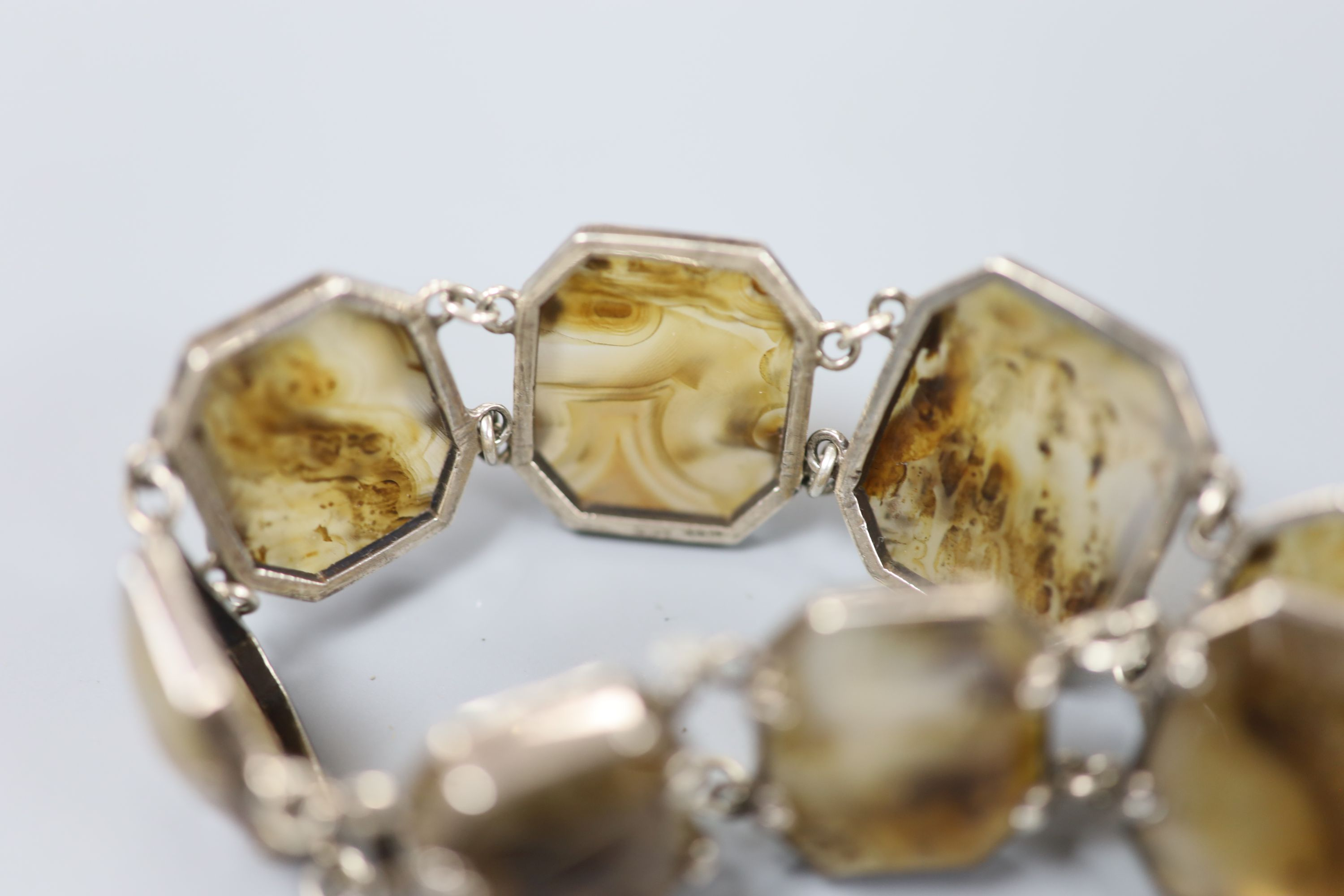 A 20th century white metal and facetted agate set bracelet, approx. 18cm, gross 37.2 grams. - Image 4 of 4