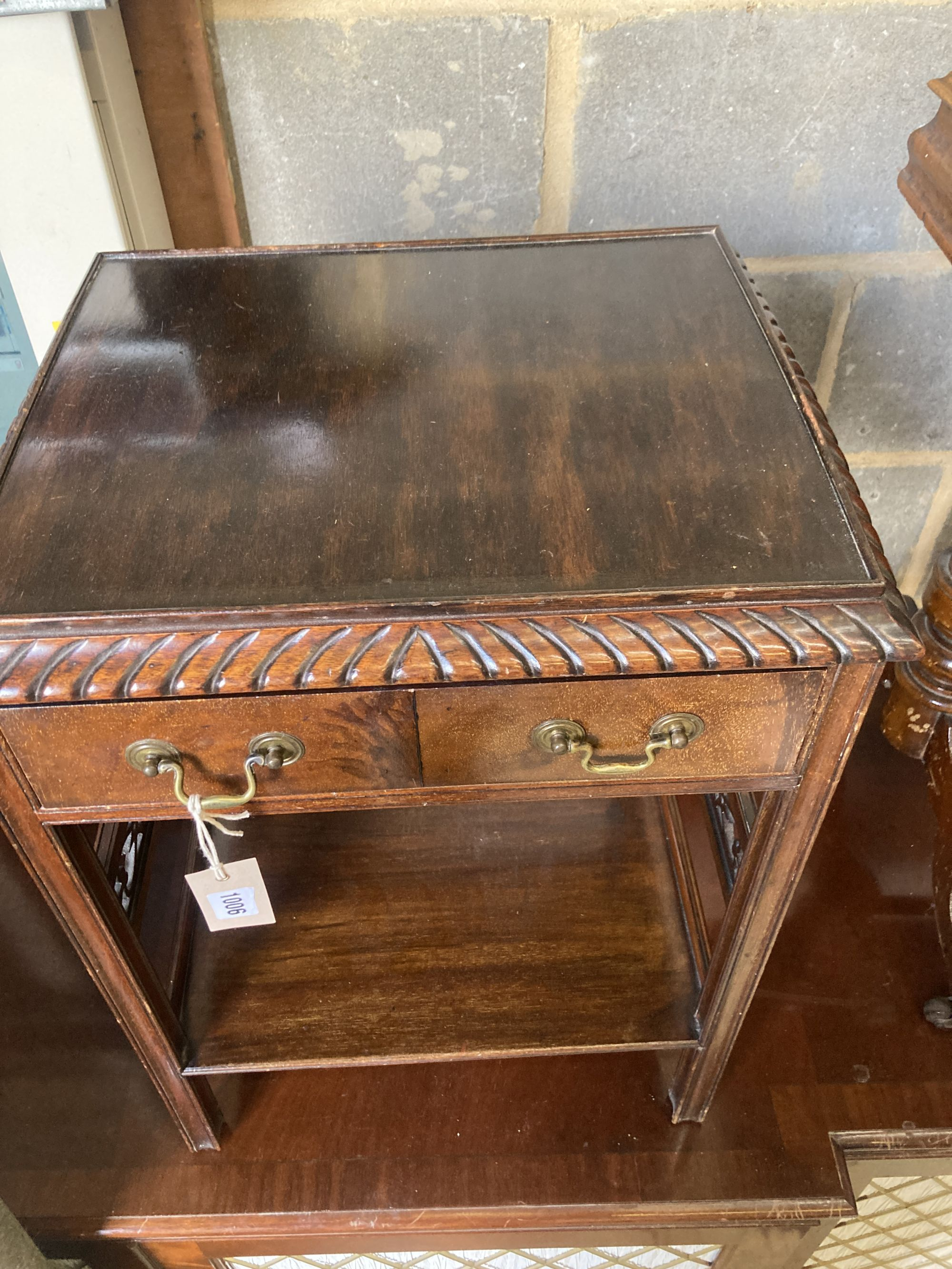 A Victorian burr walnut work table, width 56cm, depth 41cm, height 69cm, together with a Georgian - Image 3 of 7