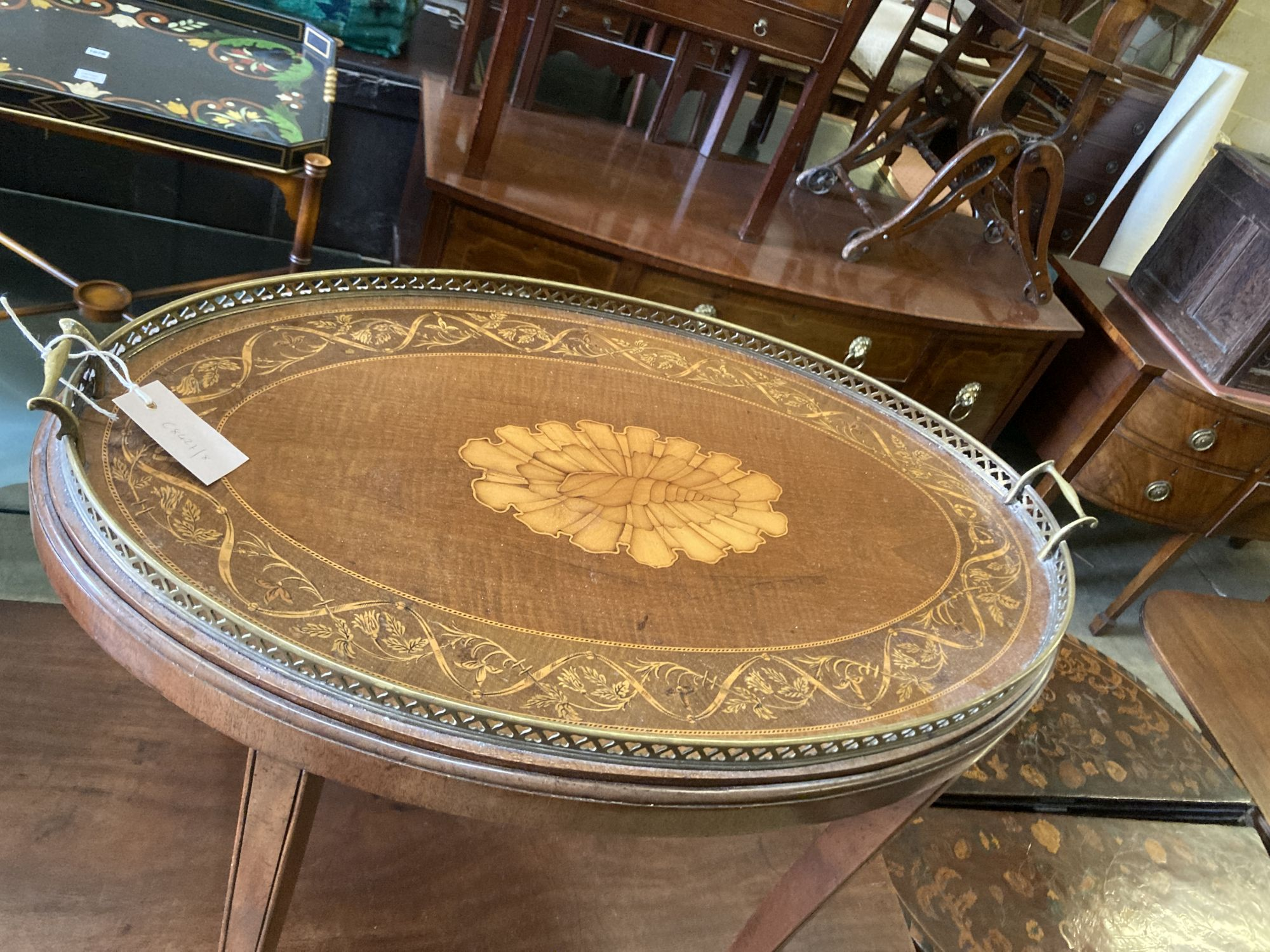 An Edwardian inlaid oval tray top, on later stand, width 70cm depth 46cm height 57cm - Image 2 of 3