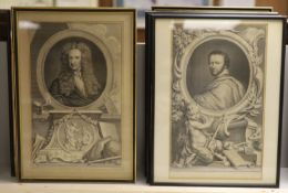 After Houbraken, a set of eight framed engravings, Portraits of Notables including Isaac Newton, Ben