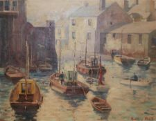 Marcus Ford (1914-1989), oil on canvas, Fishing boats in harbour, signed, 51 x 66cm, unframed