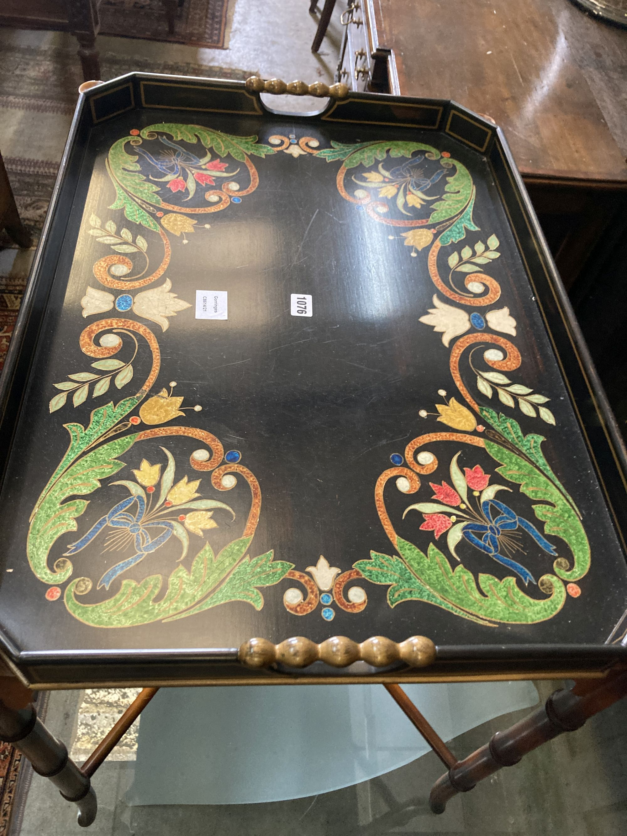 A Julian Chichester painted tray top occasional table, width 74cm, depth 54cm, height 74cm - Image 2 of 4