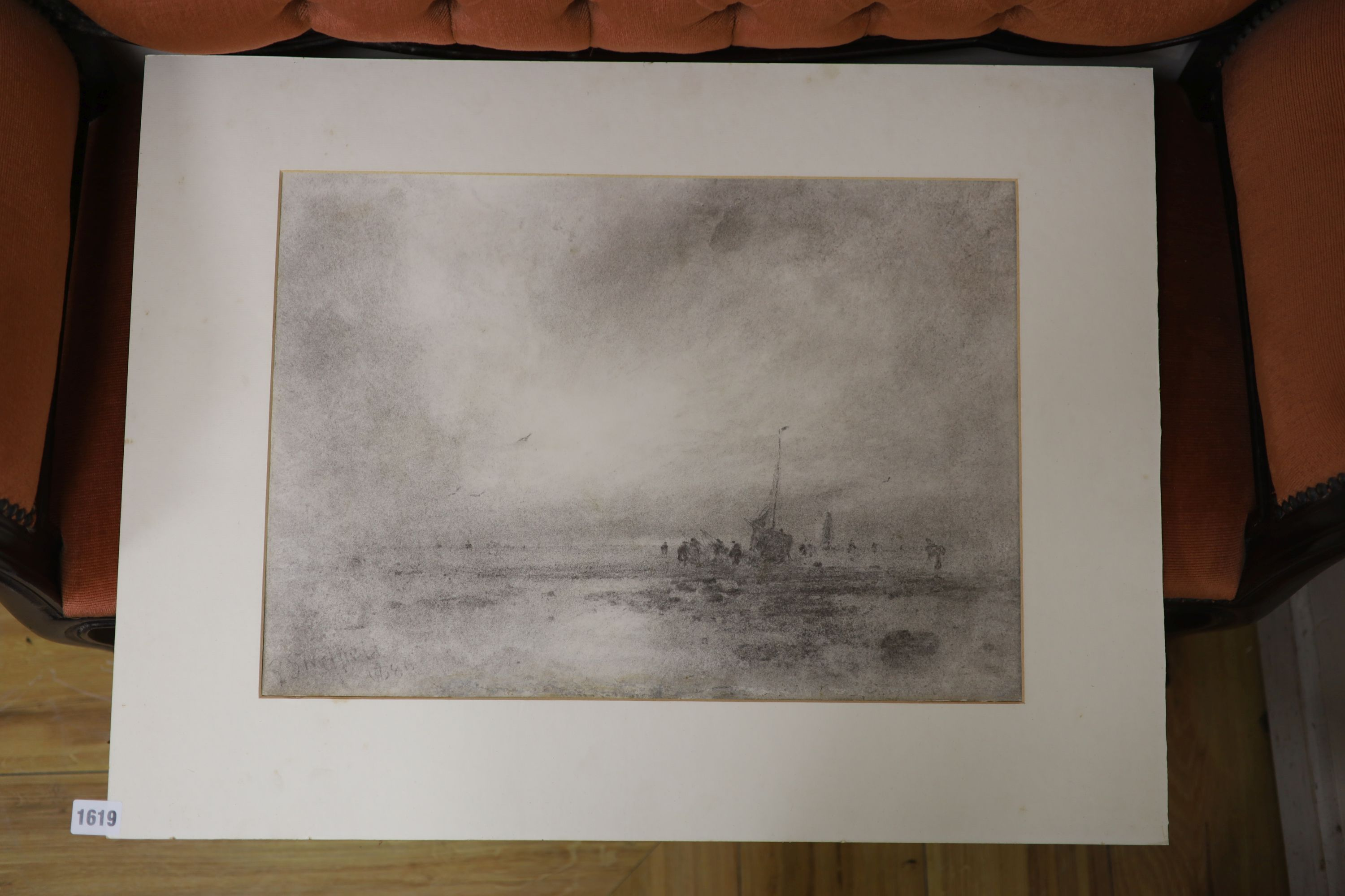 George Sheffield (1839-1892), charcoal on paper, Fisherfolk at low tide, signed and dated 1886, 36 x - Image 2 of 2