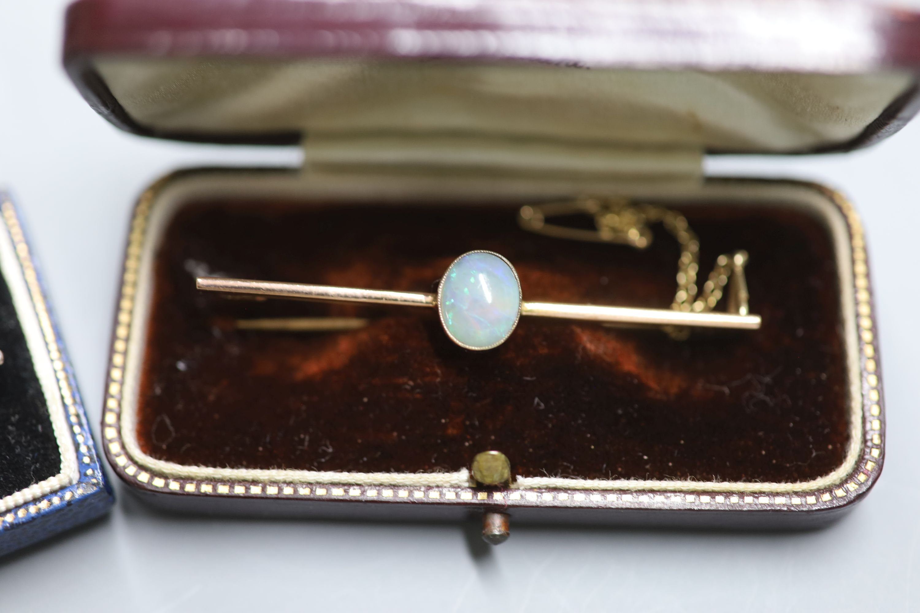 Three assorted Edwardian and later yellow metal bar brooches including a sapphire and seed pearl, - Image 4 of 4