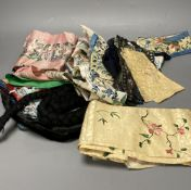 A group of 19th century and 20th century Chinese sleeve bands and various Chinese embroideries