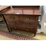 An Edwardian mahogany chest of drawers, width 96cm depth 48cm height 76cm