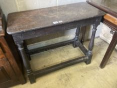 A small 18th century oak side table, width 94cm, depth 40cm, height 76cm