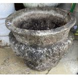 A reconstituted stone garden planter, 52cm diameter, height 40cm