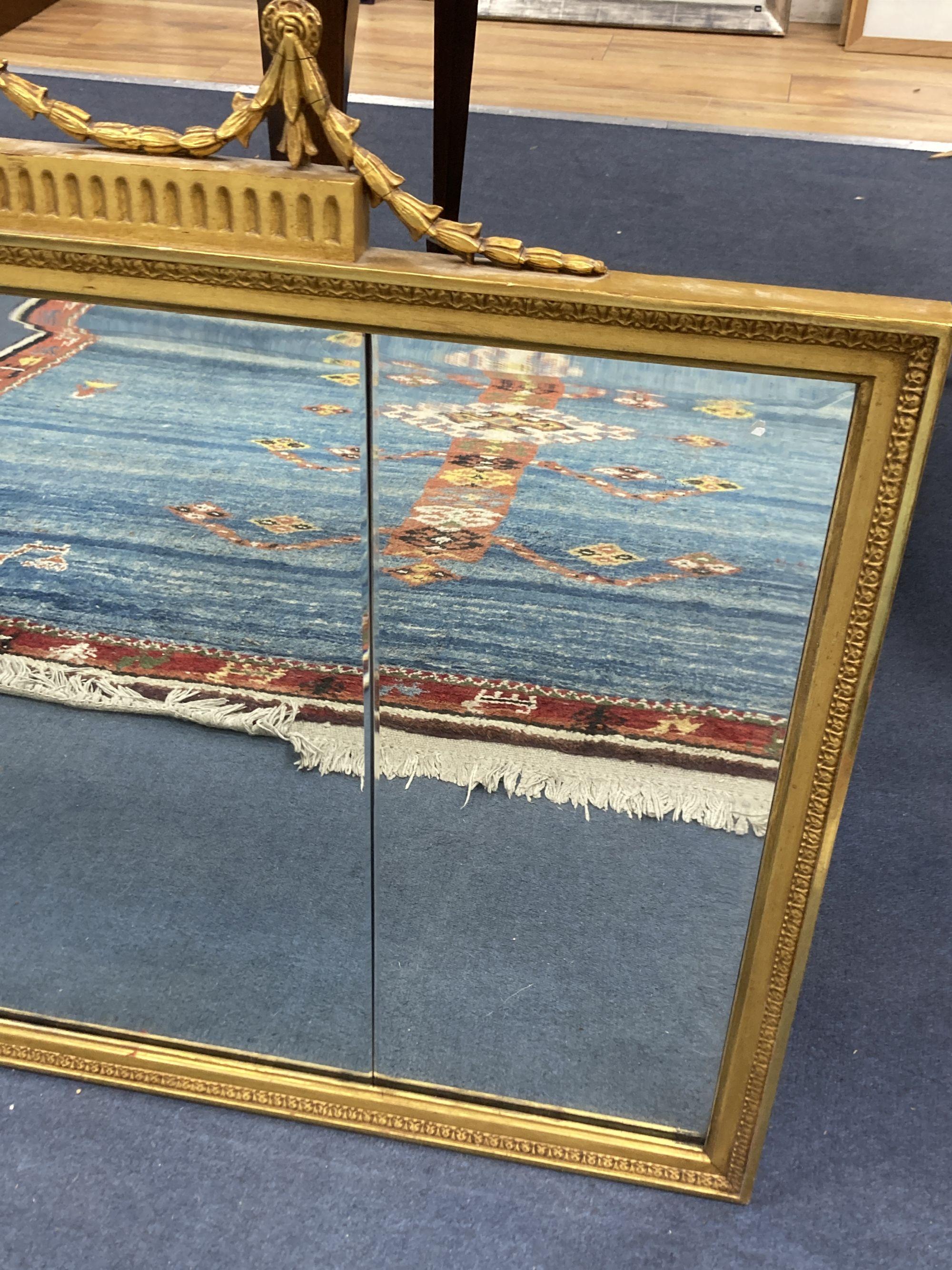 An Adam design gilt frame overmantel mirror, width 112cm, height 78cm - Image 3 of 3