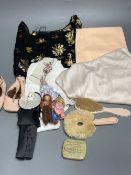 A 1930's silk cut velvet top, baby shoes, dolls etc.