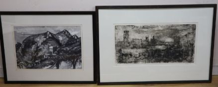 Peter Spens (1961-), drypoint and monotype, 'Storm, the City from the Strand, signed in pencil and