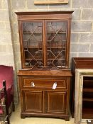An Edwardian mahogany W&G (?) inlaid secretaire bookcase, width 107cm, depth 54cm, height
