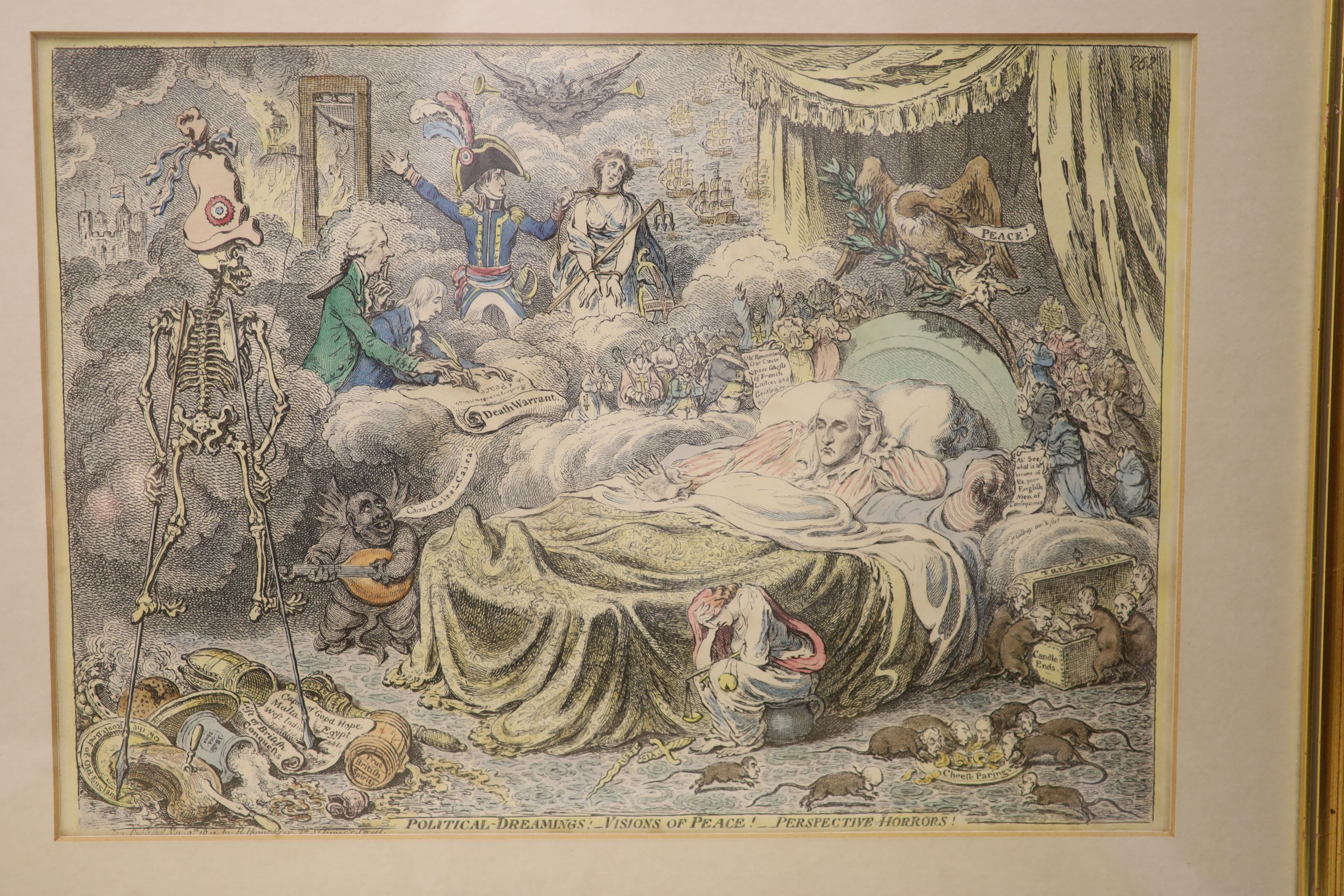 Boehm after Gillray, seven engravings, Caricatures including 'Political Dreamings', 'Political - Image 4 of 8