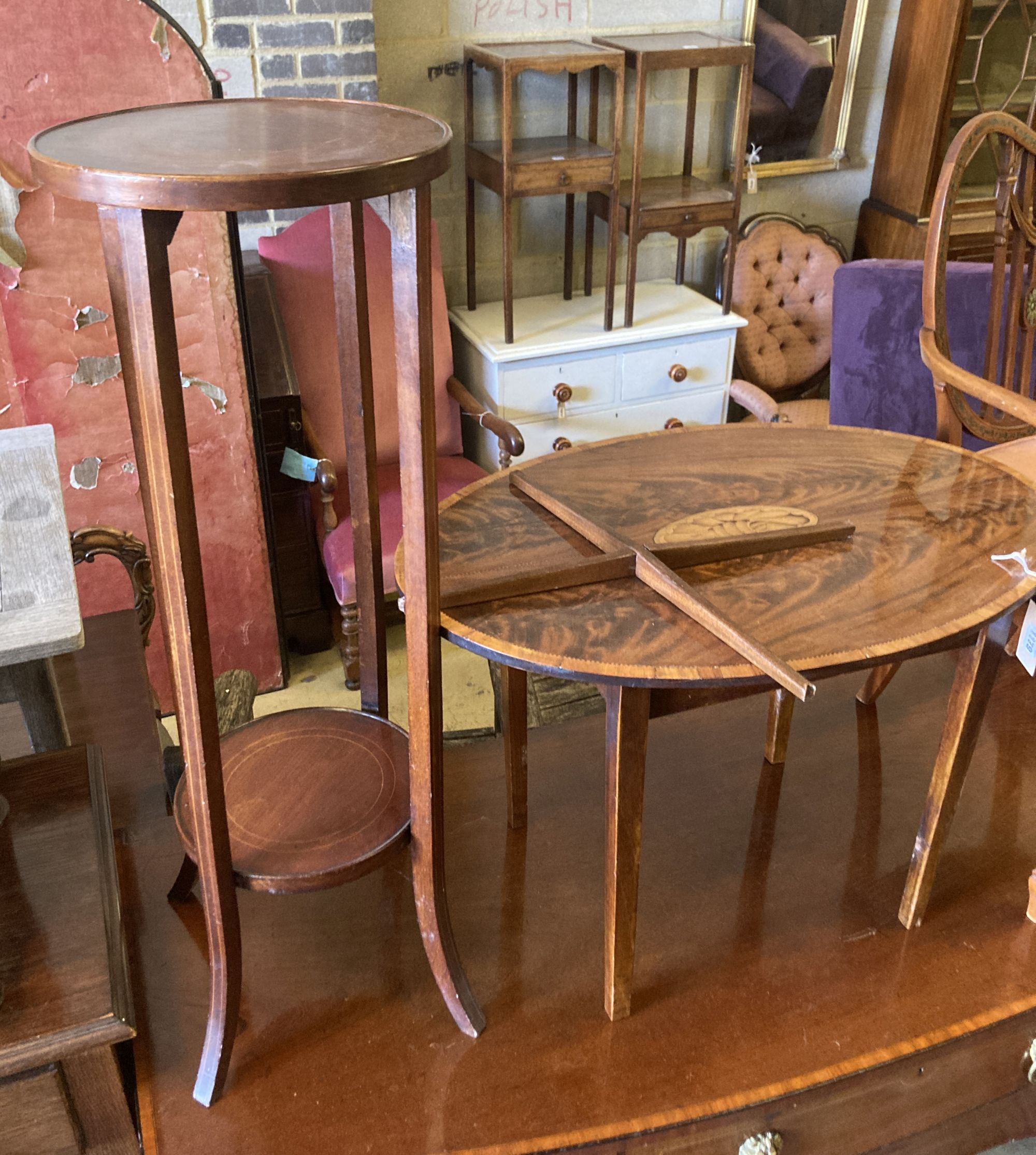 An oval marquetry inlaid mahogany occasional table, width 75cm, depth 52cm, height 50cm, together