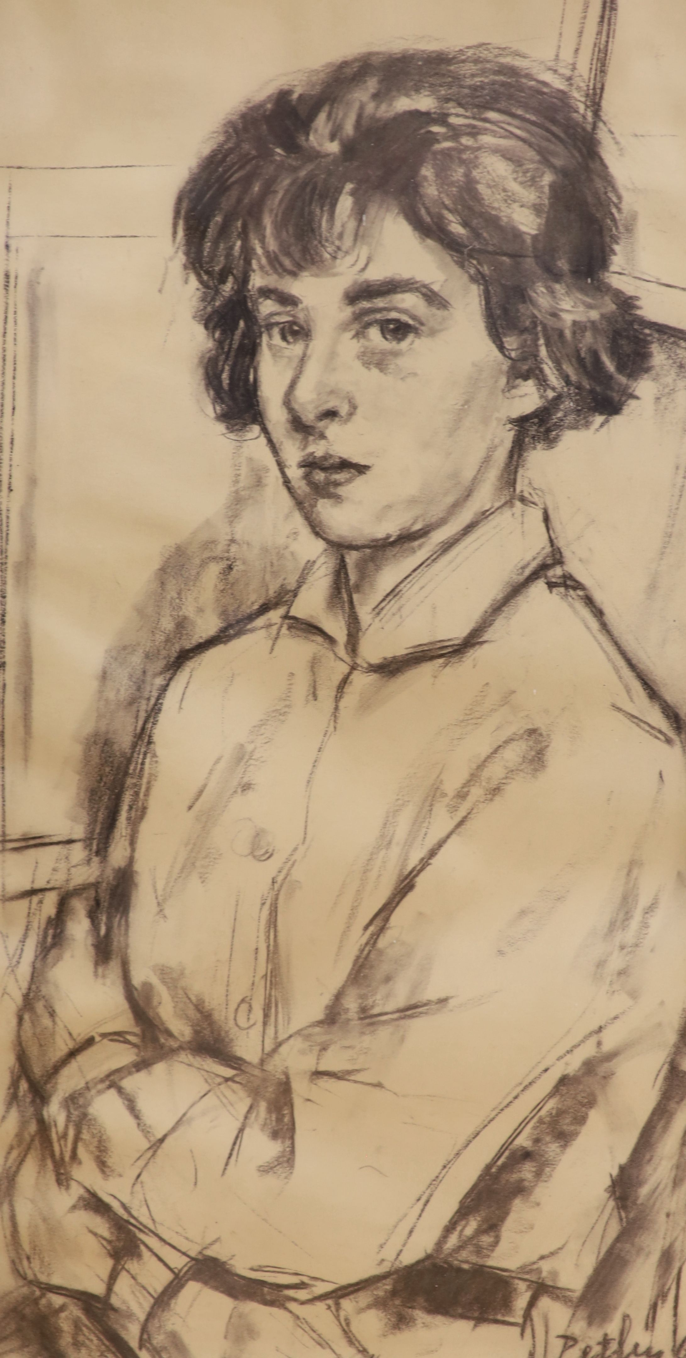 Llewellyn Petley Jones (1908-1986), charcoal drawing, Portrait of Miss Nicola Taylor, signed and