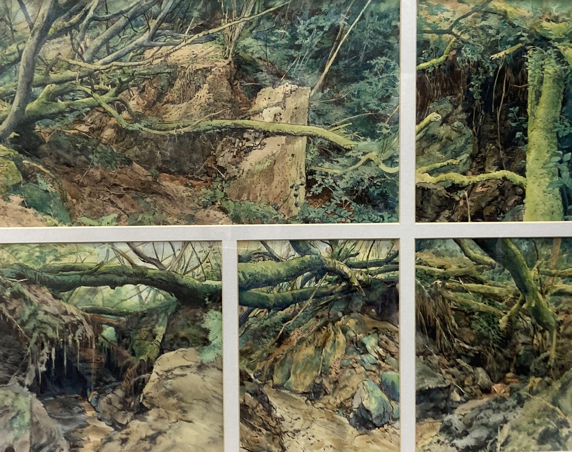 John Wiltshire (1969-), watercolour, 5 studies of the Tank Bridge, Bankside Gallery label verso,