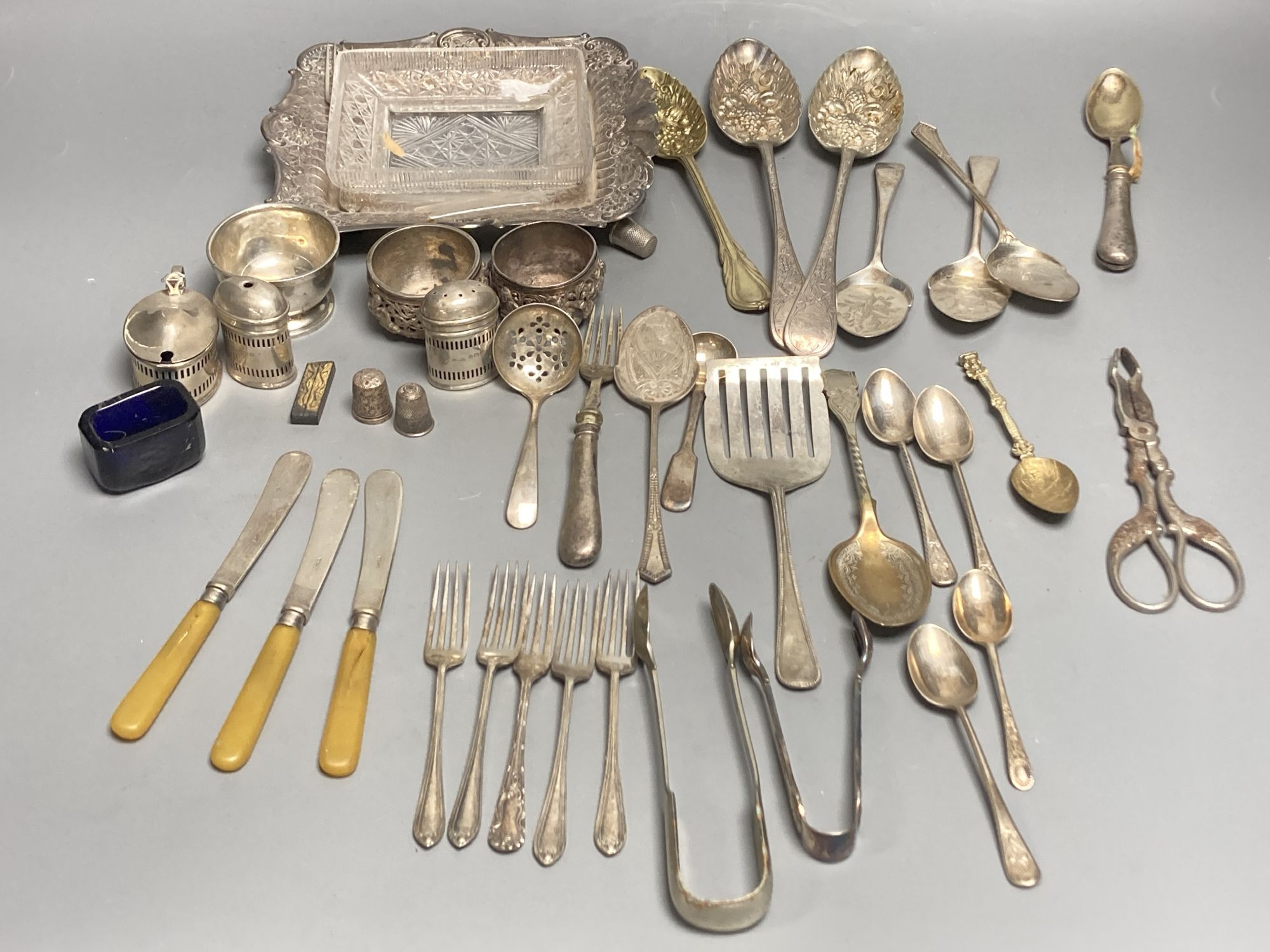 Four silver condiments, two silver thimbles, two Indian? salts and assorted plated flatware etc. - Image 2 of 6