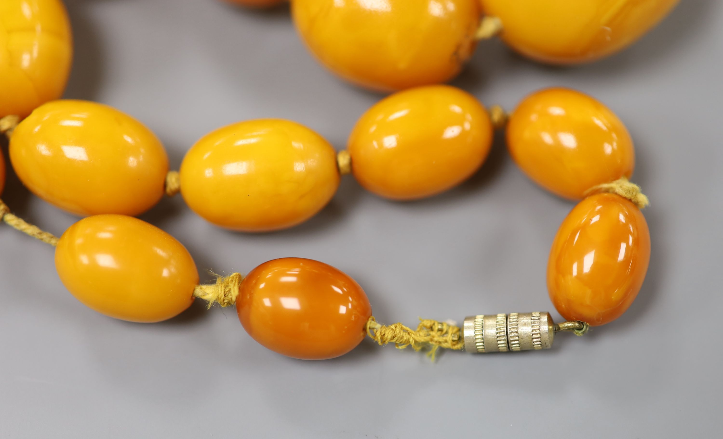 A single strand graduated oval amber bead necklace, 40cm, gross 46 grams.CONDITION: Largest bead - Image 2 of 3